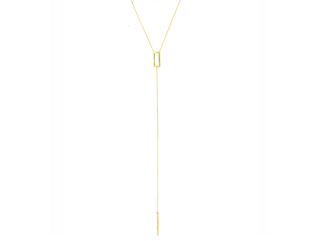 Sharp Edge Lariat Necklace, Gold