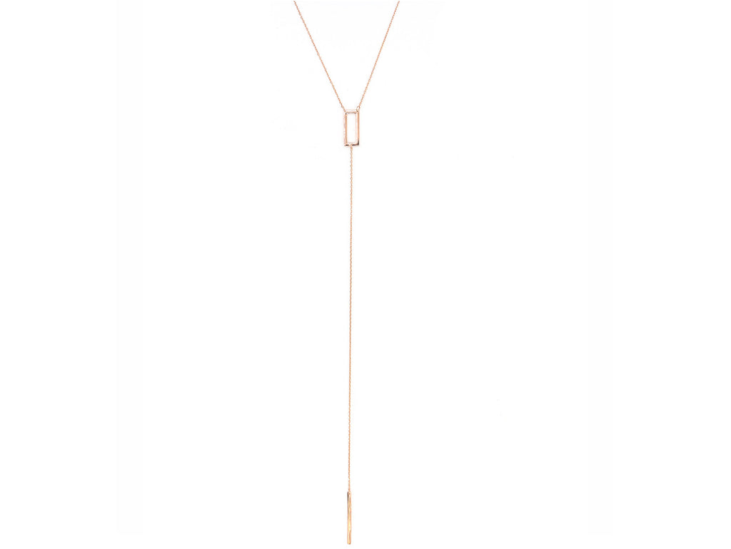 Sharp Edge Lariat Necklace, Rose Gold