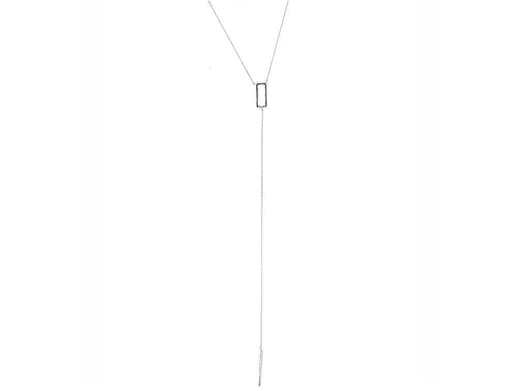 Sharp Edge Lariat Necklace, Silver
