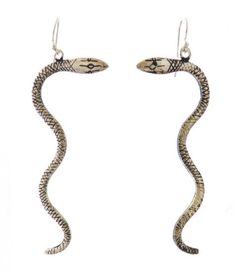 Snake Charmer Earrings, Silver