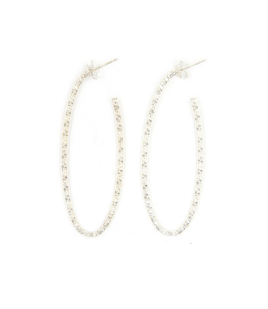 Diamond Cut Oval Hoops, Silver