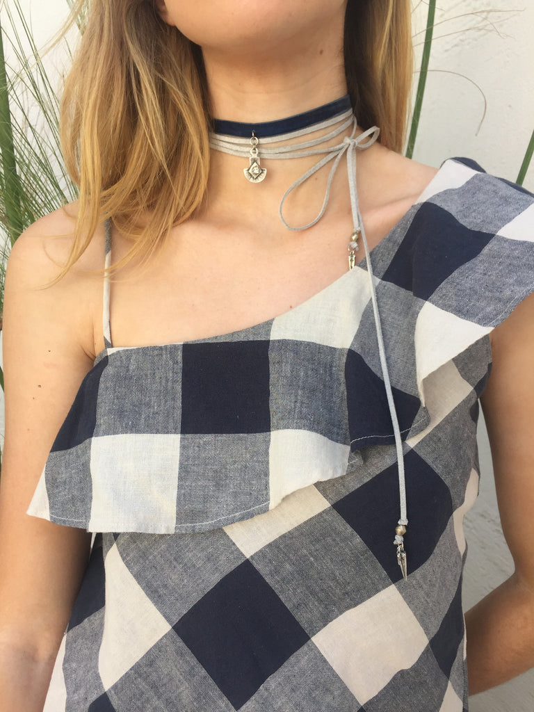 Bone Roadie Wrap Choker, Silver