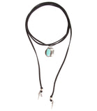 Roadie Wrap Two Raven Turquoise Charm Wrap Choker/Bracelet, Black