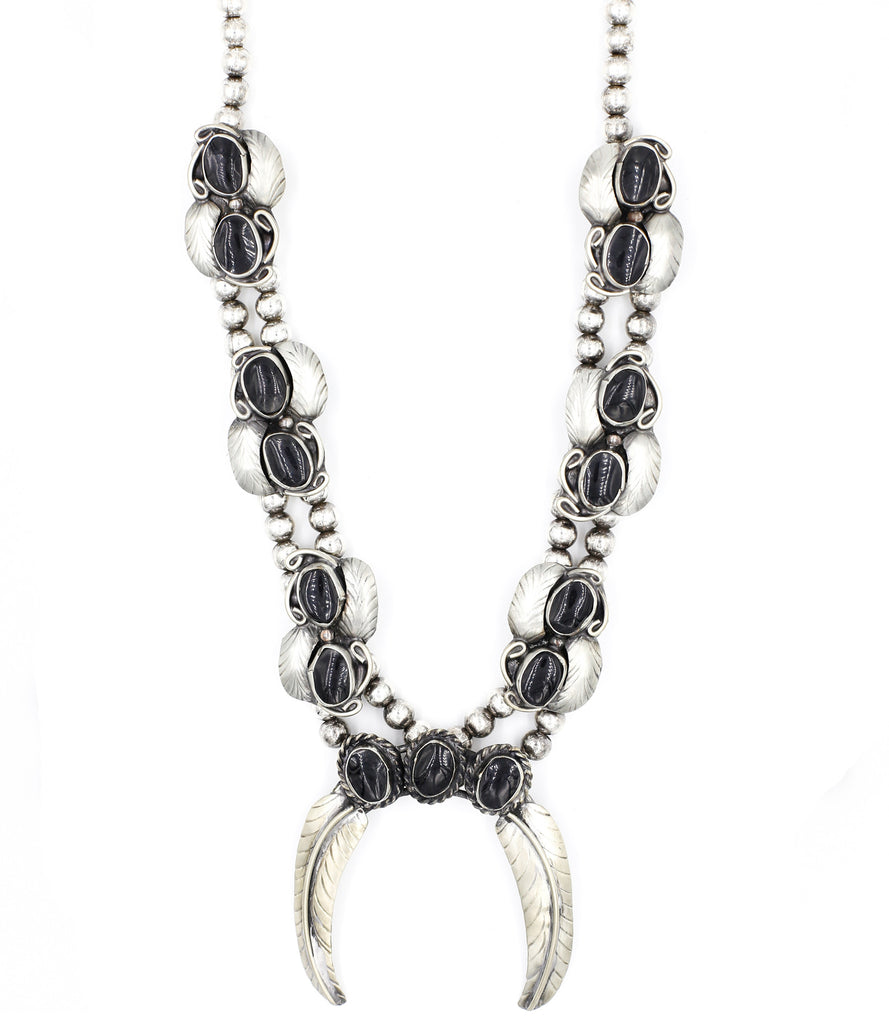 Natalie B Jewelry Naja Squash Blossom Necklace in Metallic Silver vZwPGTl
