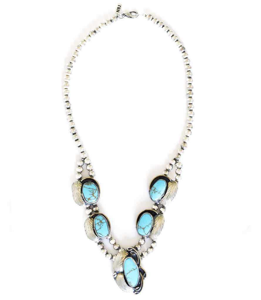 Two Raven Short Necklace, Turquoise