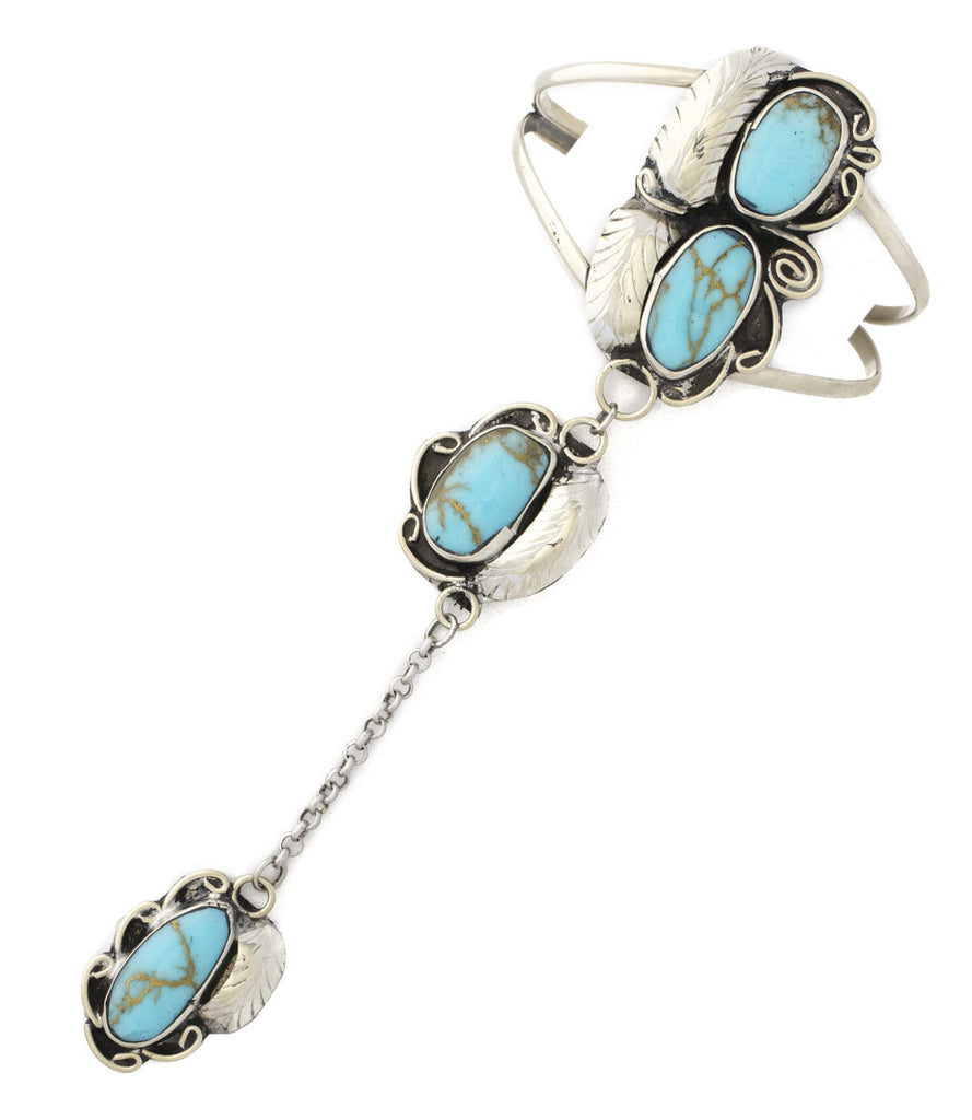 Two Raven Two Stone Handpiece Bracelet, Turquoise