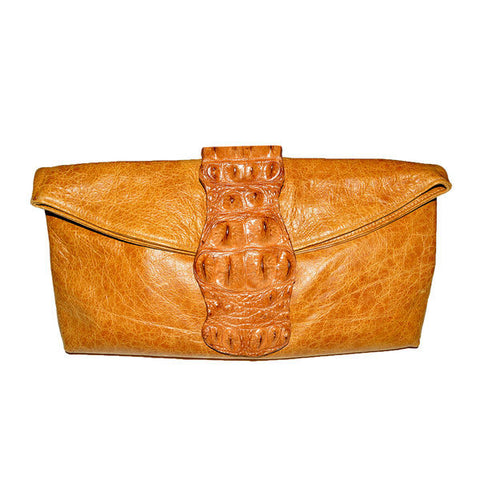 TAN CROCODILE & LEATHER CLUTCH