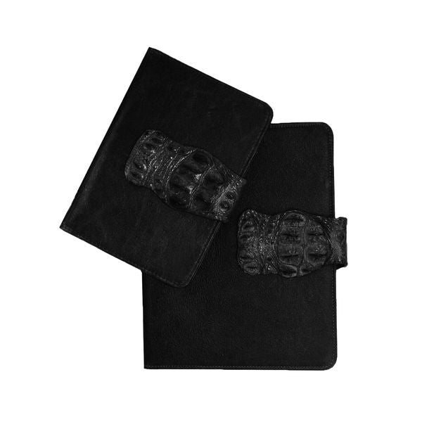 BLACK CROCODILE CLOSURE IPAD COVER