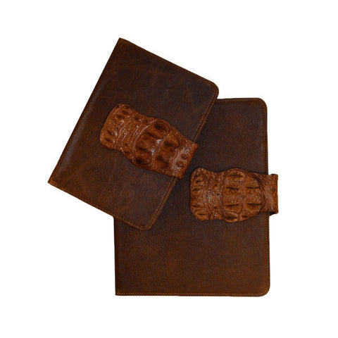 BROWN CROCODILE CLOSURE IPAD COVER