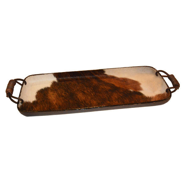 COWHIDE TRAY WITH LEATHER HANDLES