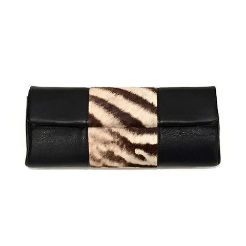 LEATHER CLUTCH WITH ZEBRA TRIM