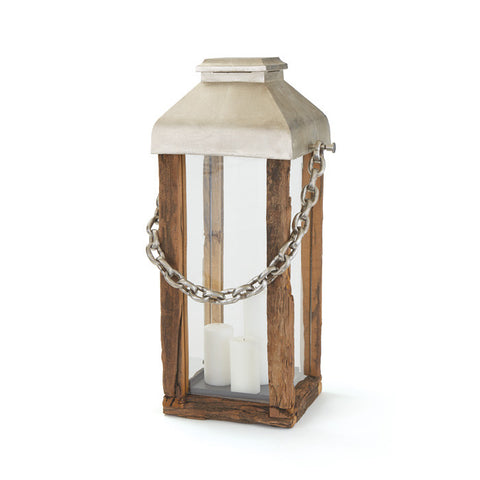 LARGE WOOD & CHAIN LANTERN
