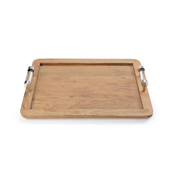 WOOD TRAY WITH ACRYLIC HANDLES