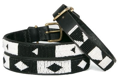 Ebony and Ivory Beaded Dog Collar