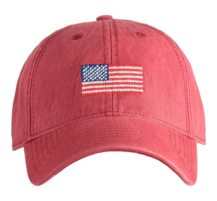 HAT AMERICAN FLAG ON WEATHERED RED