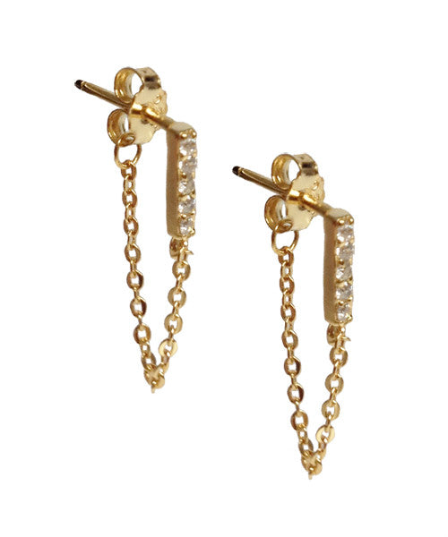 CHAIN & PAVE EARRINGS