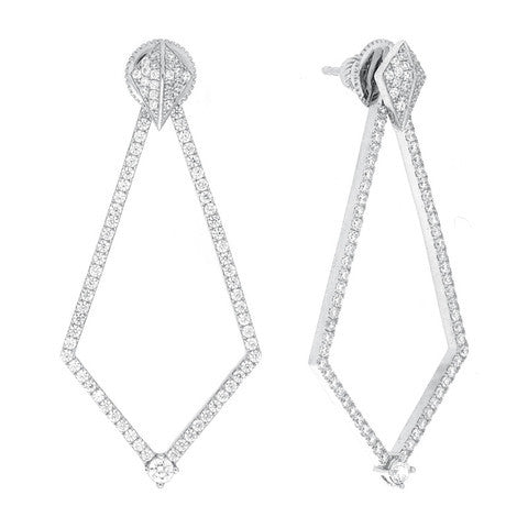 WHITE GOLD PLATED PAVE EARRINGS