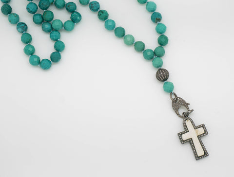 TURQUOISE AND DIAMOND PENDANT NECKLACE