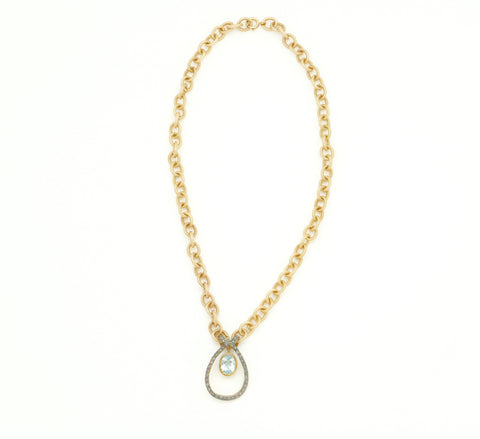 GOLD CHAIN WITH BLUE TOPAZ AND DIAMOND PENDANT