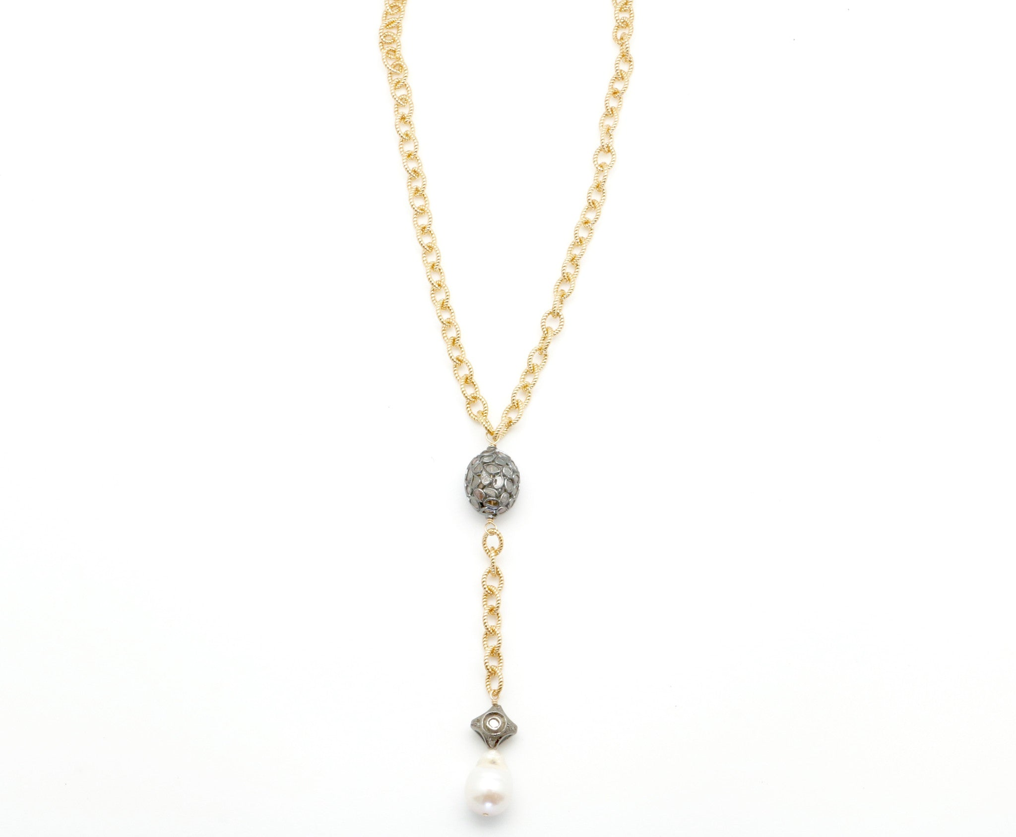 GOLD CHAIN LARIAT WITH DIAMOND PENDANT