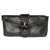 BLACK CROCODILE CLOSURE CLUTCH
