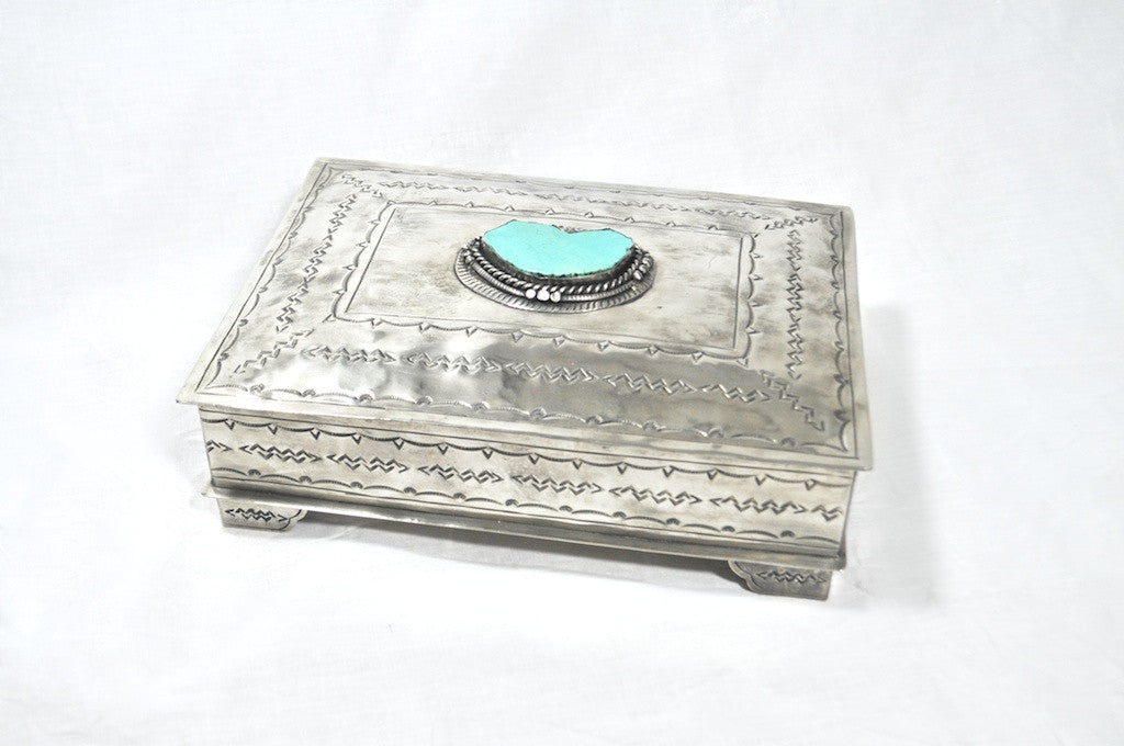SILVER BOX WITH LARGE TURQUOISE STONE