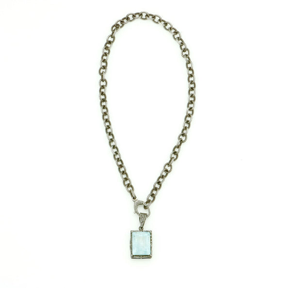AQUAMARINE & DIAMOND PENDANT ON OXIDIZED CHAIN