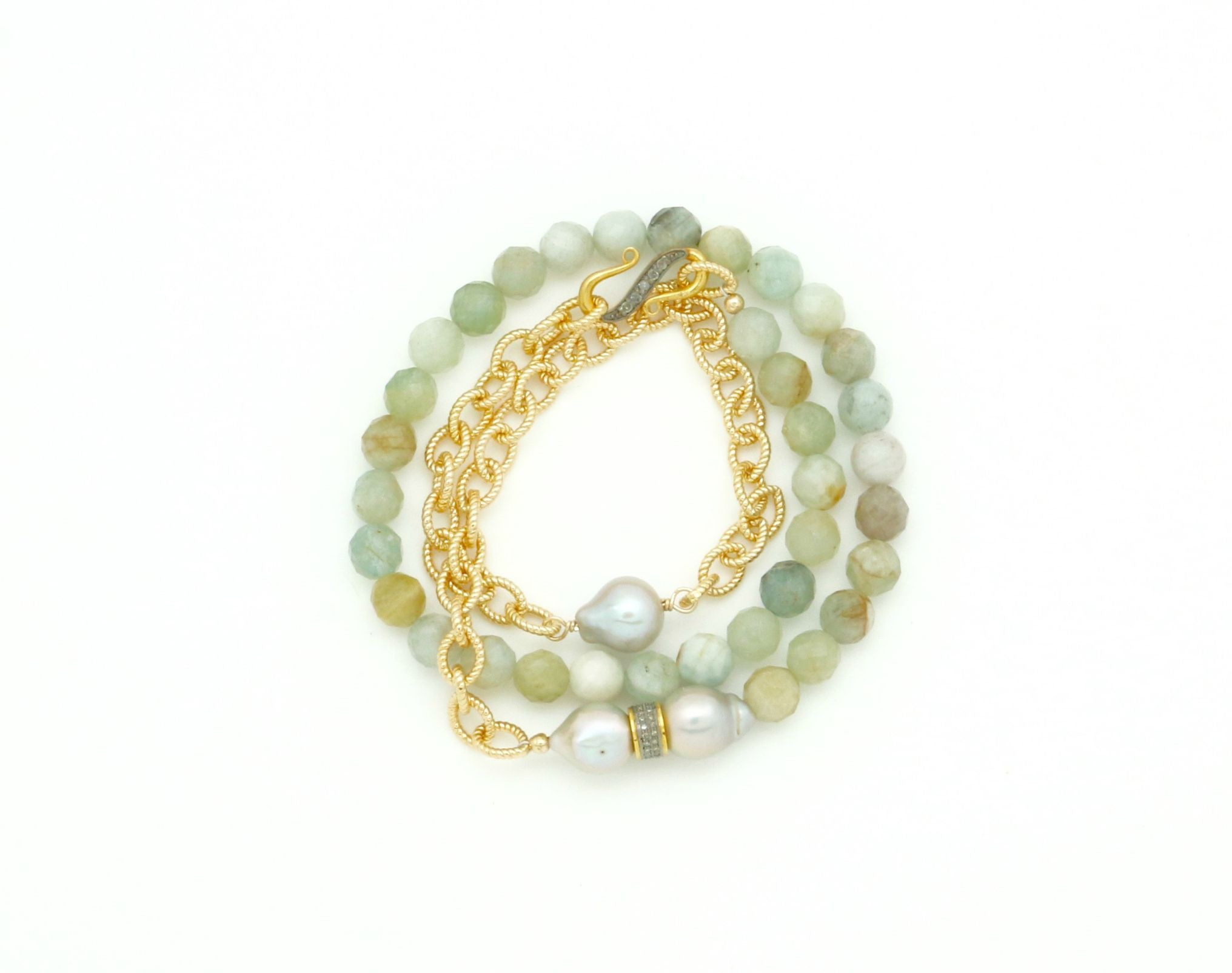 GOLD, PEARL AND DIAMOND WRAP BRACELET