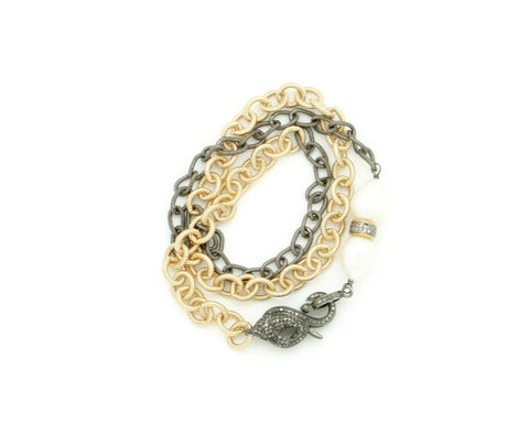 DIAMOND SNAKE GOLD AND OXIDIZED CHAIN BRACELET