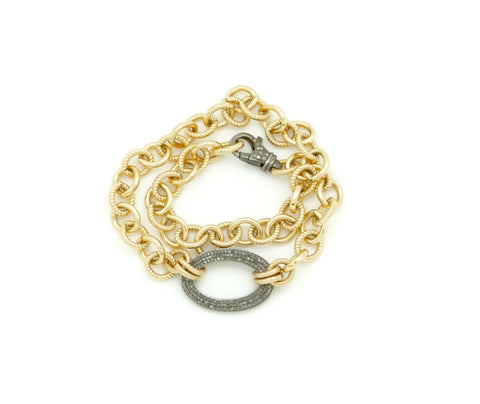 GOLD CHAIN AND DIAMOND WRAP BRACELET