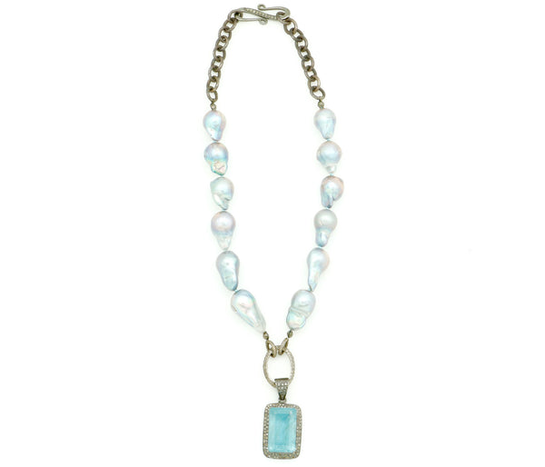 BAROQUE PEARL AND CHAIN NECKLACE WITH AQUAMARINE NECKLACE