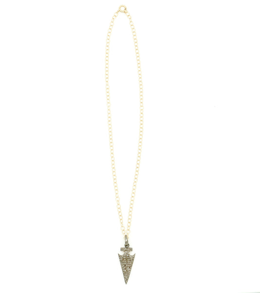 GOLD CHAIN WITH DIAMOND ARROWHEAD PENDANT NECKLACE