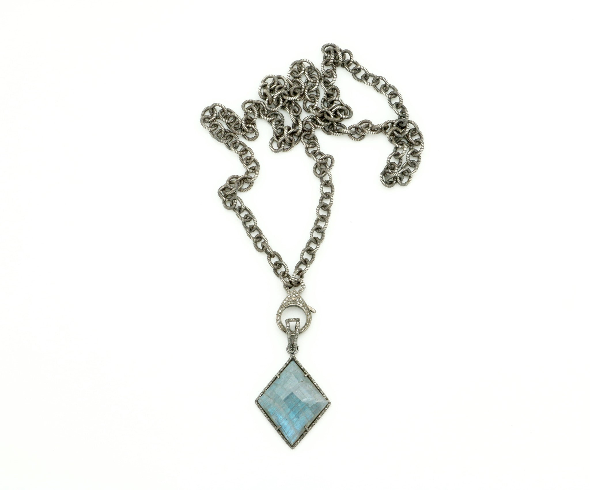 OXIDIZED STERLING SILVER CHAIN WITH DIAMOND CLASP