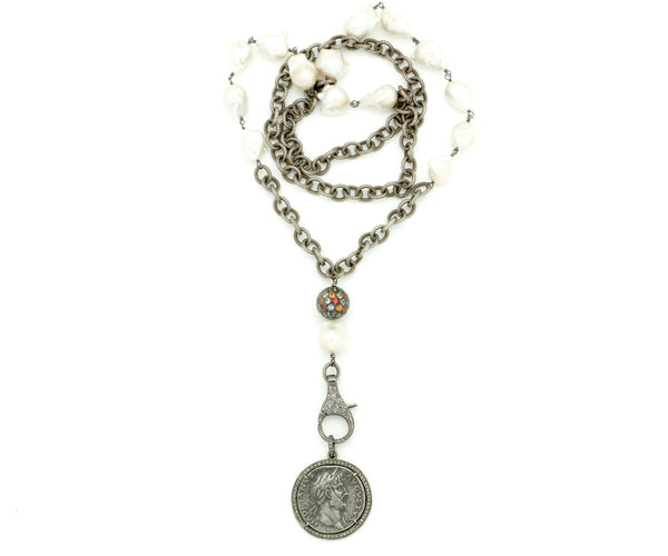 COIN PENDANT ON PEARL AND OXIDIZED CHAIN NECKLACE