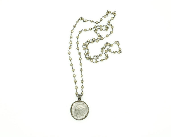 DIAMOND COIN PENDANT ON PYRITE CHAIN