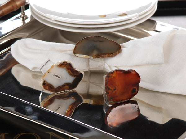 AGATE AND ACRYLIC NAPKIN RINGS