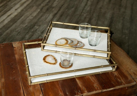 WHITE MARBLE & GOLD TRAY