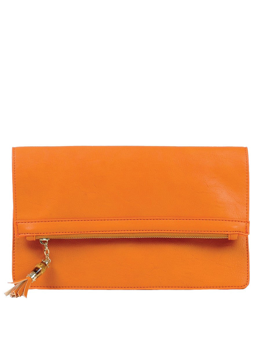 ORANGE MILAN FOLD OVER CLUTCH