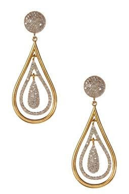 DIAMOND & GOLD TEAR DROP EARRINGS