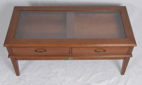 glass top display coffee table – wren chest