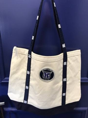 Canvas Zippered Tote with Portledge Appliqué
