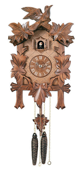 "Traditional German Cuckoo Clock with Five Hand-carved Maple Leaves and One Bird-14"" Tall - OktoberfestHaus.com"