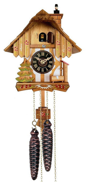 "One Day Chalet Style German Cuckoo Clock with Chimney Sweeper that Pops In and Out of the Chimney 9"" Tall - OktoberfestHaus.com"
