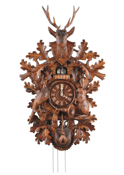"Schneider Black Forest 35"" Musical Hunter Theme with Deer Bust Eight Day Movement German Cuckoo Clock - OktoberfestHaus.com"