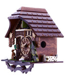 Musical Cuckoo Clock Cottage With Deer, Water Pump, And Tree- 10 Inches Tall - OktoberfestHaus.com  - 4