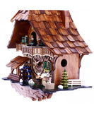 Musical Black Forest Cuckoo Clock With Dancers, Waterwheel, And Beer Drinker - 14 Inches Tall - OktoberfestHaus.com  - 3