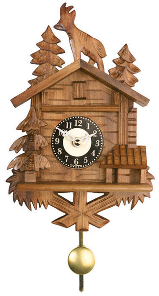 Quartz Novelty Clock - Chalet with Billy Goat on Roof - 8 Inches Tall - OktoberfestHaus.com