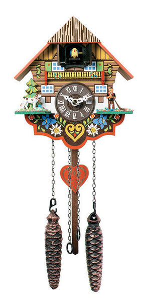 "Musical Multi-Colored Quartz Cuckoo Clock with 12 Melodies 8"" Tall - OktoberfestHaus.com"