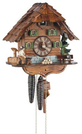 "Schneider 10"" Black Forest Lumberjack Eight Day Movement German Cuckoo Clock - OktoberfestHaus.com"