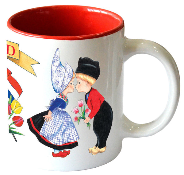 """I Love Holland"" Coffee Mug with Dutch Kissing Couple - OktoberfestHaus.com"